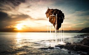 krajobraz, morze, woda, kamień, lot, zachód słońca, człowiek, Gwiazda, chmury, wyspa, Sztuka, niebo