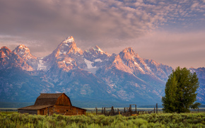 cabin, Wyoming, trees, national park, clouds, sky, Grand Teton, Mountains, evening, USA