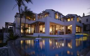 rooms, chair, villa, home, evening, furniture., Palms, exterior, pool