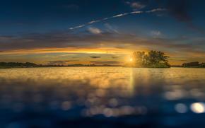 Sonne, Wolken, Insel, See, Himmel