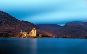 Великобритания, озеро, замок Килхурн, Шотландия, горы, дымка