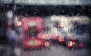 flussi, strada, pioggia, acqua, vetro, pioggia, città