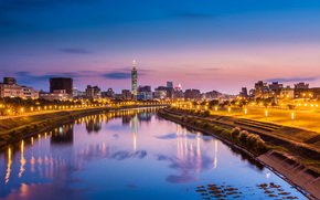 evening, reflection, city, Taiwan, Taipei, river, pink, lights, sky, lights, light, China, blue, China