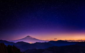 sky, night, glow, Mountains, Star, nature