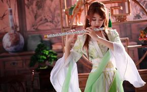 девушка, инструмент, флейта, музыка