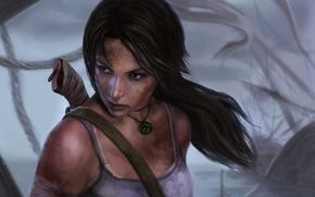 cara, cola, Lara Croft, Arte, ver, suciedad, pelo, cuchillo