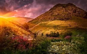 Spagna, tramonto, Montagne, fiume, paesaggio