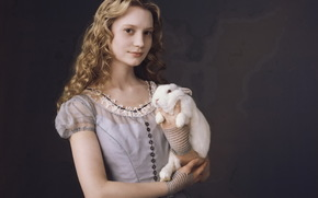 hair, Alice, dress, rabbit, Wasikowska, Mia