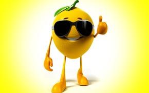 Limón, fondo, gafas, clase, sonreír