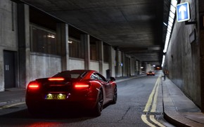 авто, машина, дорога, огни, Суперкары, красная