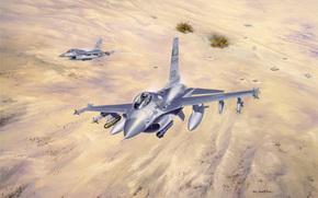 лёгкие, земля, «Буря в пустыне», небо, иракская, взрывы, рисунок, многофункциональные, Кувейт, бронетехника, самолёты, арт, операция, истребители