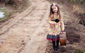 чемодан, настроение, дорога, девочка