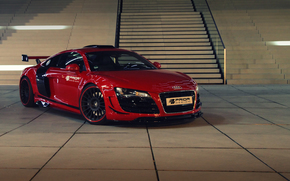 car, stage, red, ladder, Front, Audi
