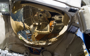 space, helmet, Russian cosmonaut, reflection, spacesuit Orlan MK