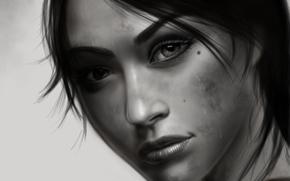 взгляд, волосы, фон, лицо, арт, девушка, черно-белая, глаза