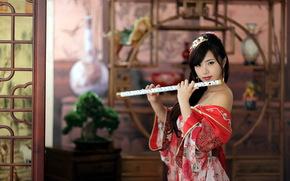 девушка, инструмент, музыка