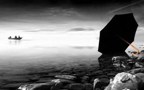 лодка, зонт, камни