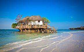 дом, лестница, море, деревья, островок