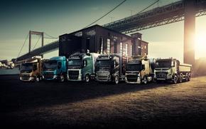 Lineup, rimorchio, trattore, Dump, hotspot, Volvo