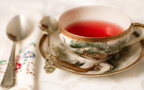 tazza, piattino, tè, Cucchiaio, tovagliolo