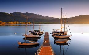 лодки, мост, пейзаж, озеро