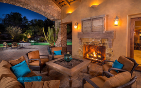 sofa, table, veranda, evening, yard, fireplace, pool, chair