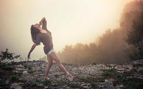端に, ダンス, 運動, バレリーナ, ポアント, 霧, 破る