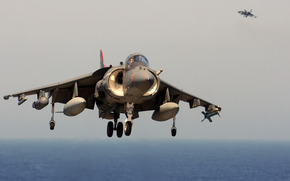 USA, Two, deck, Harrier, aviation, takeoff, Day, United Kingdom, sea, fighter, plane, bomber
