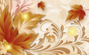арт, осень, листья, золотая осень, фон