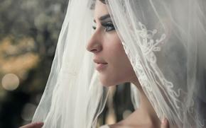портрет, невеста, фата, профиль, свадьба