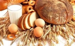 хлеб, пшеничные, хлеб всему голова, яйца, молоко, еда, куриные, колосья, самая, человечества, сушки, парное, древняя