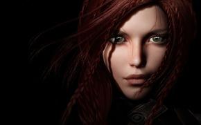 рендеринг, рыжая, взгляд, девушка, черный фон, волосы