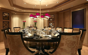 chandelier, room, chairs, photo, ceiling, table, interior
