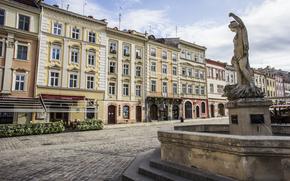 Львов, фонтан, Площадь Рынок, Украина, брусчатка