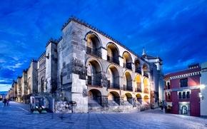 Мескита, вечер, Кордова, Испания, улица, Кордовская соборная мечеть, люди, город, Андалусия, освещение