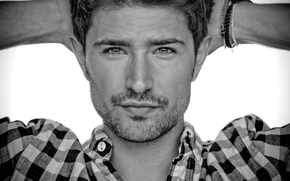 face, man, Matt Dallas, actor, shirt, black and white