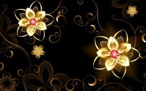 абстракция, золото, цветочки, камешки