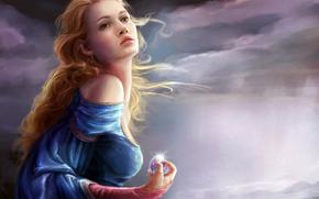 肩, 天空, 风, 天气, 云, 球, 女孩, 耳环, 闪光, 卷发, 蓝色连衣裙, 头发, 手, 云