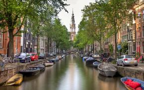 машины, здания, мост, велосипеды, деревья, Нидерланды, город, вода, дома, канал, река, Амстердам, лодки