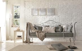 interno, forgiatura, Nazione, divano, mattone