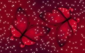 красный, весна, Настроение, бабочки, свет