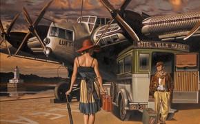 машина, рисунок, чемодан, шляпа, спина, женщина, самолет, мужчина, зонтик