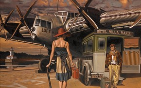 чемодан, шляпа, рисунок, спина, машина, женщина, самолет, мужчина, зонтик