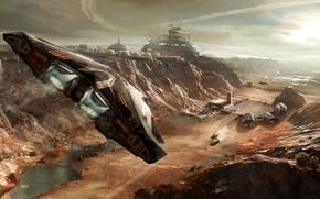 звездолёт, игра, космический симулятор, станция, полёт, пейзаж, корабль, фантастика, база