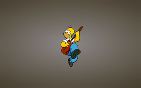 gitara, Homer, veseluha, czerwony, The Simpsons