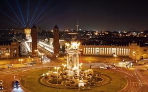 Испания, ночь, Барселона, дороги, фонтаны