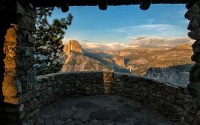 панорамма, Калифорния, балкон, Национальный парк Йосемити, долина, вид