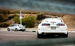 Lancer, Zadok, Evoluzione, Mitsubishi, Toyota, argento, Bianco, Supra, Toyota
