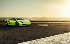 gayardo, wing, Lamborghini, sunset, Green, Lamborghini, Black