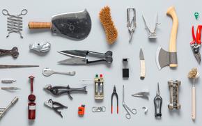 ax, knife, Saw, stand, tool, set, scissors, utensil